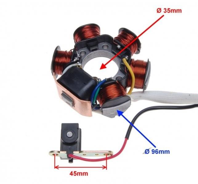 Stator für Lichtmaschine 6-Spule, 6-Draht, PIAGGIO GILERA ...